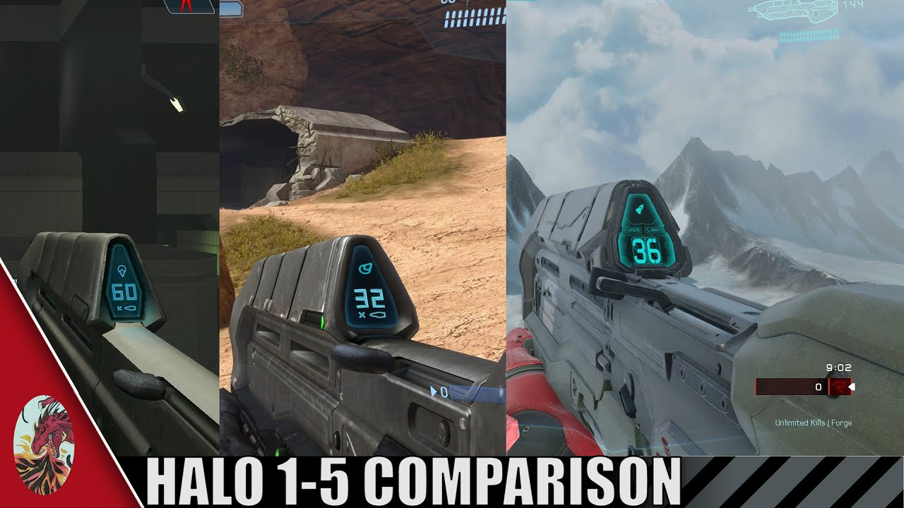 Halo 1-5 Assault Rifle Comparison (All Halo Games Included)
