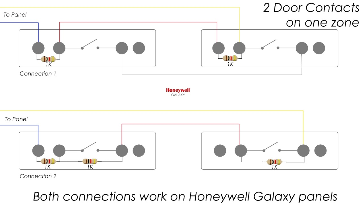 how to connect 2 door contacts on one eol zone honeywell galaxy [ 1280 x 720 Pixel ]