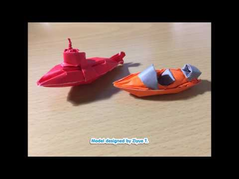 How to fold a 3D Origami Canoe and Speed boat