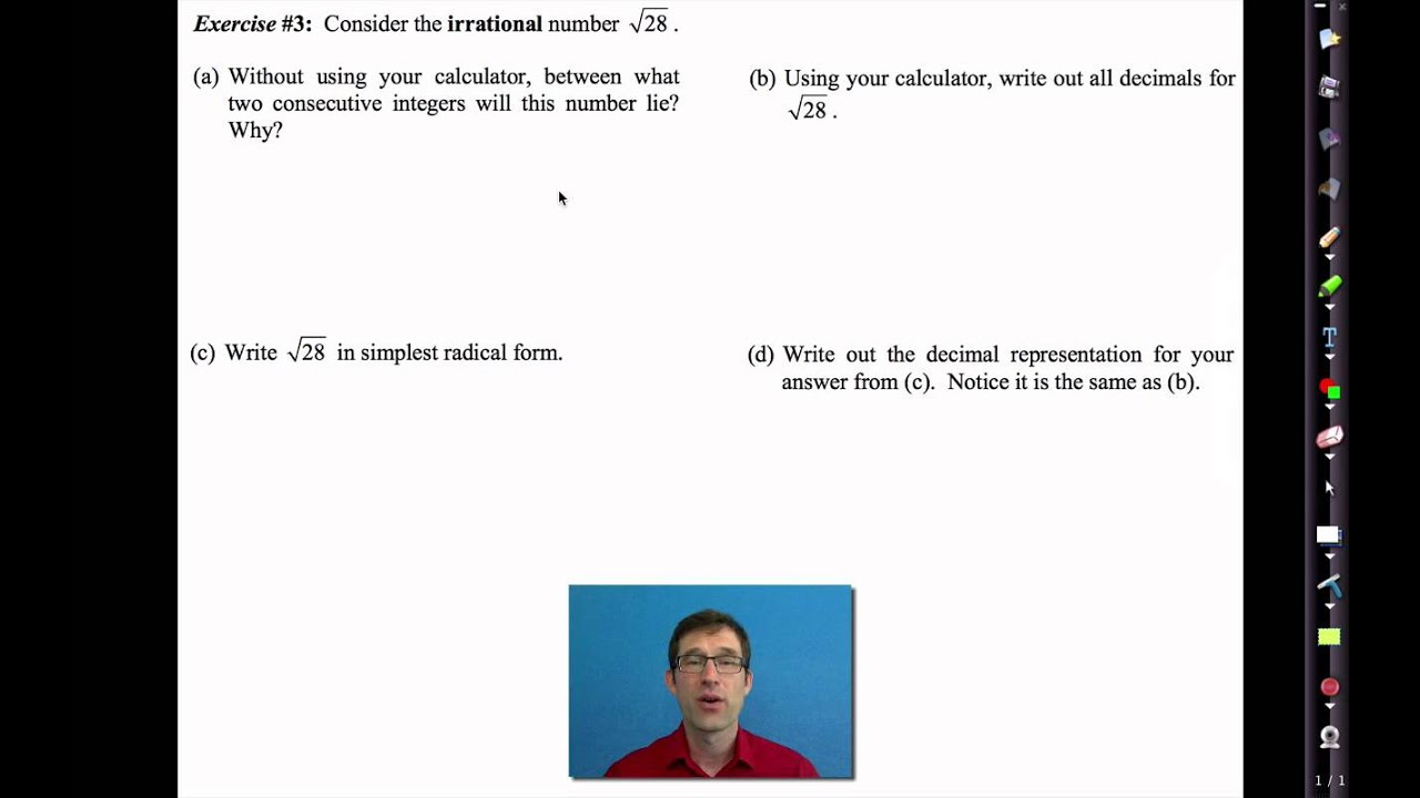 Common Core Algebra I.Unit #9.Lesson #2.Irrational Numbers - YouTube