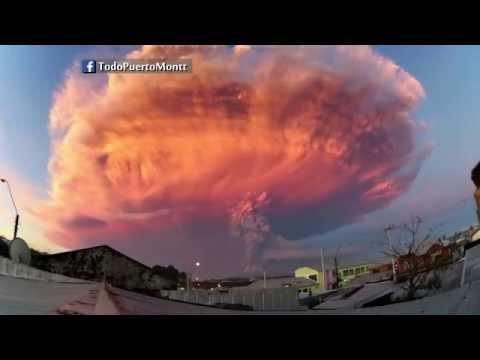 Erupción Calbuco Chile 2015, 2 Timelapse Volcán HD.