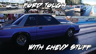 ALL THESE RIDES ARE BUILT FORD TOUGH BUT WITH CHEVY STUFF! FAST CHEVY POWERED FORD MUSTANGS & MORE!