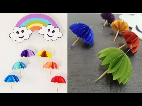 Paper umbrella wall hanging 2 | DIY easy paper crafts tutorial - Wall decoration ideas