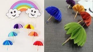Paper umbrella wall hanging 2   DIY easy paper crafts tutorial - Wall decoration ideas