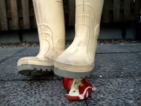 White Rubber Boots Stomping A Apple Youtube