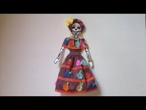Como Vestir Calaverita De Papel Crepe Estilo Chiapas