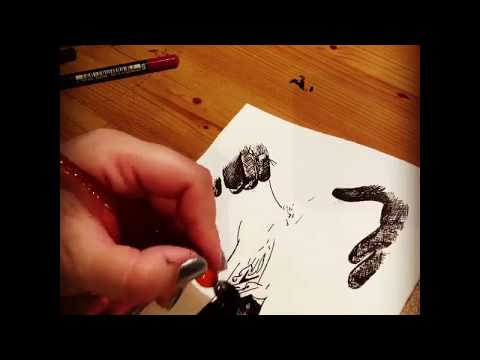 Creating erotic art in timelapse, Erotica Drawing, pen and ink, latex gloves and clothes pins
