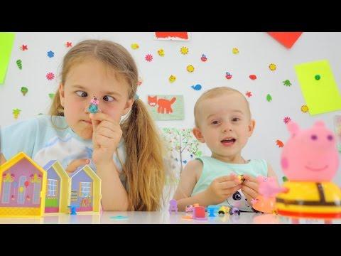 Видео для детей: СВИНКА ПЕППА игрушки для детей. Ксюша Дети и родители. Peppa pig toys