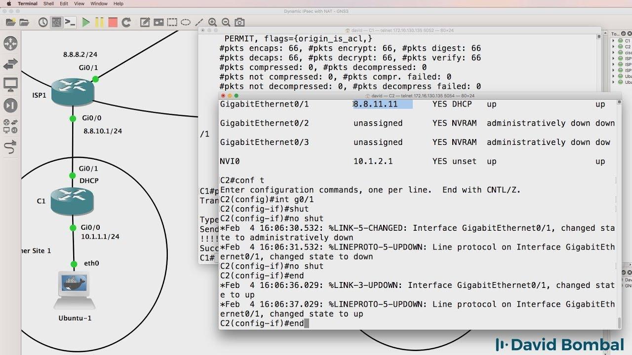 GNS3 Labs: Dynamic IPsec VPNs and NAT across BGP Internet