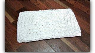 איך סורגים שטיח מלבני במסרגה אחת עם חוטי טריקו - למתחילים