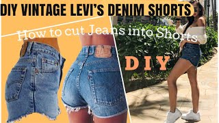 DIY: VINTAGE DENIM SHORTS /  HOW TO CUT DENIM JEANS INTO SHORTS | MADDIEJOHNN |