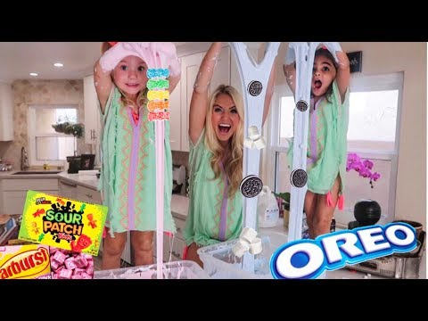 MAKING REAL OREO SLIME VS CANDY SLIME WITH 4 YEAR OLDS!!! *They Get Stuck IN The Slime*