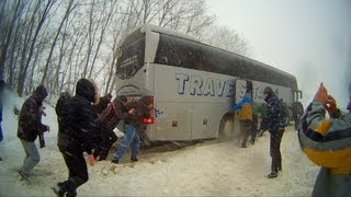 Снежный занос автобуса NEOPLAN !