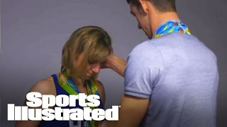 michael phelps teaches katie ledecky how to arrange olympic medals sports illustrated
