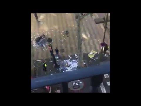 Van hits pedestrians in Barcelona 'terror attack'