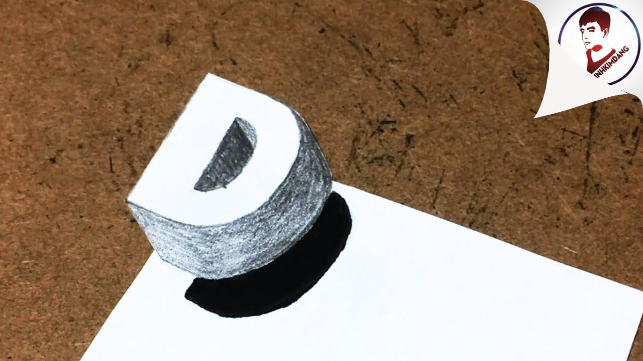 Vẽ 3D Siêu Ảo ! Vẽ chữ D 3D BAY TRÊN MẶT GIẤY