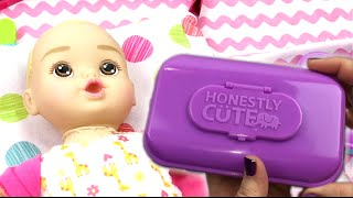 Target Honestly Cute Doll Just Like Mommy Diaper Bag Changing, Feeding, and Nail Clipping Video