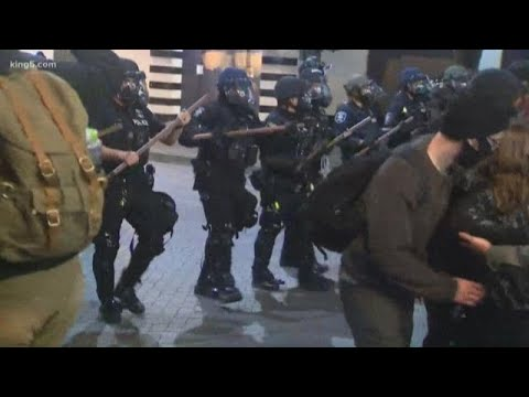 Police Line Moves Toward Protesters In Downtown Seattle