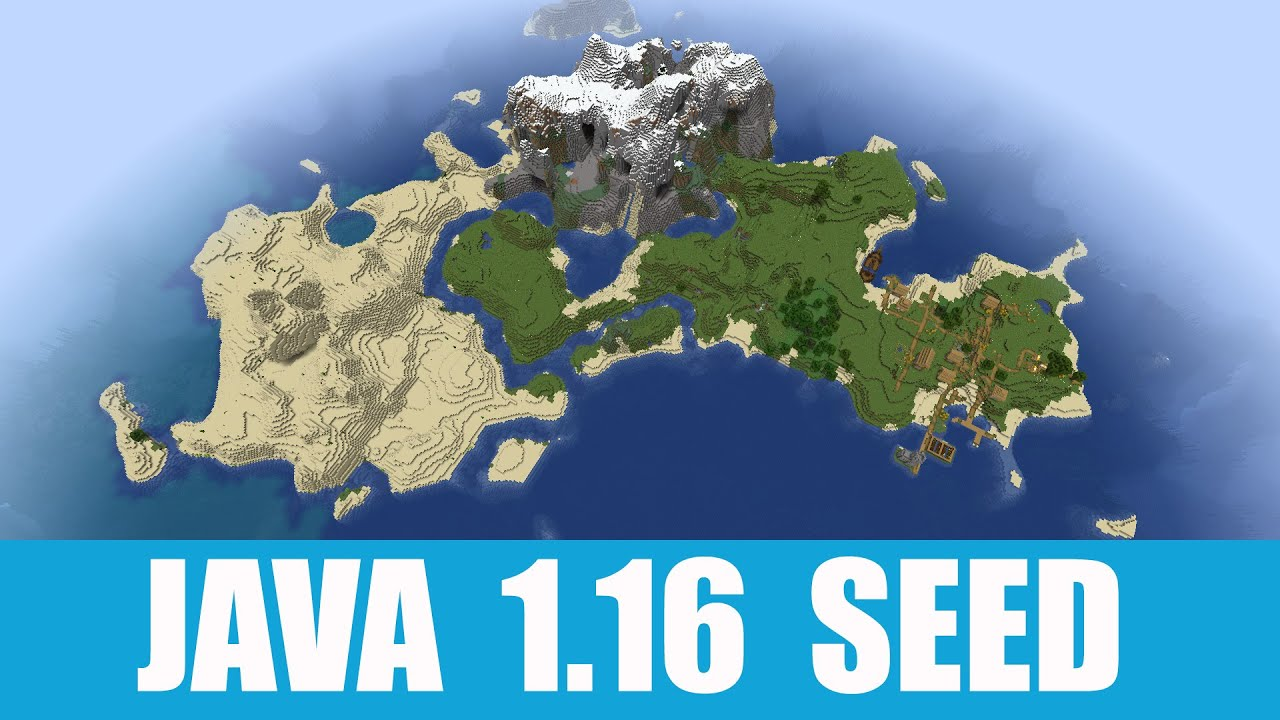 Minecraft Java 1 16 Seed Island With Three Biomes Village Shipwreck And Exposed Mineshaft Youtube