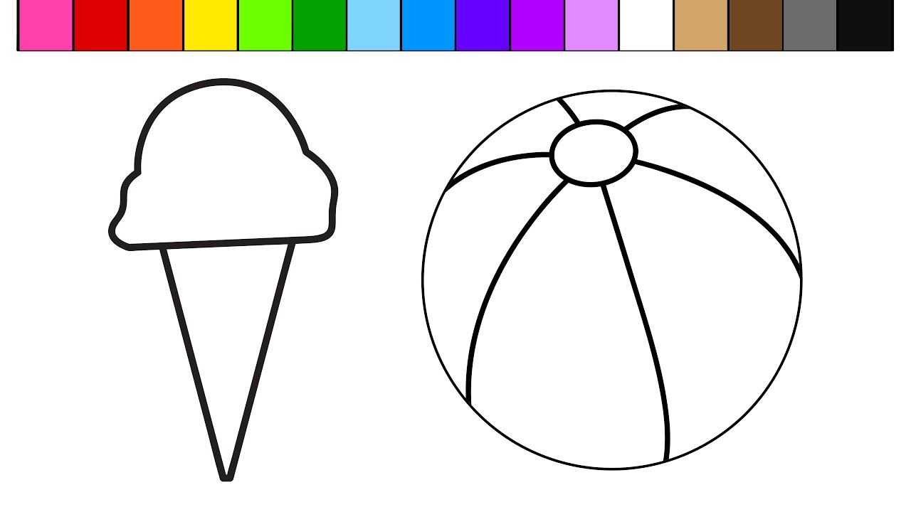 Learn Colors for Kids with this Ice Cream Beach Ball Coloring Page