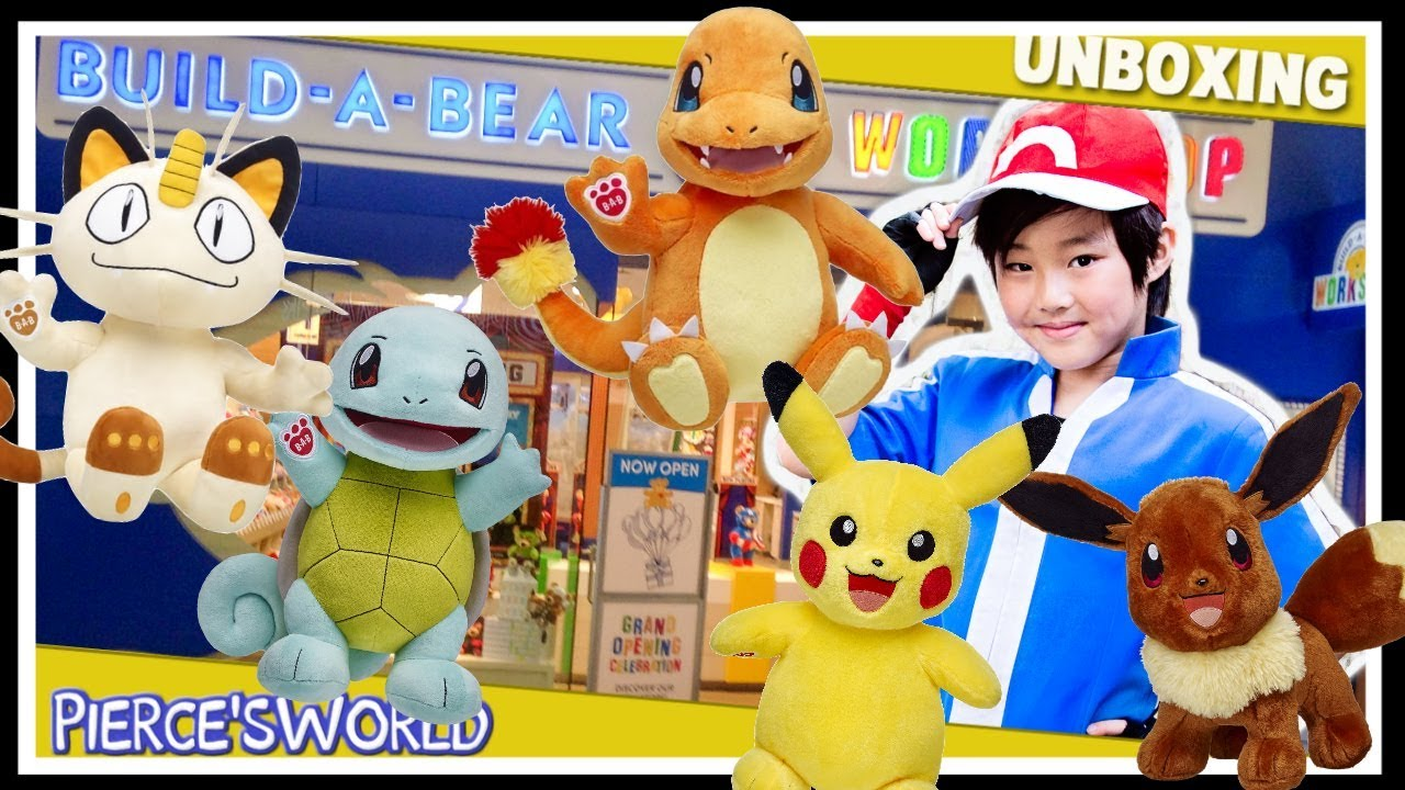1a9f044a0f3 Build a Bear Pokemon Meowth Pikachu Charmander Squirtle Eevee sounds  Commercial review