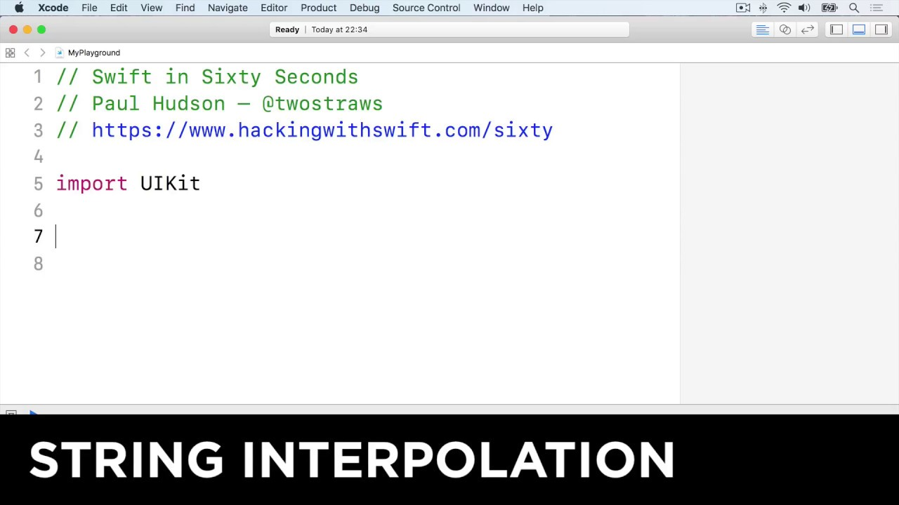 String interpolation – Swift in Sixty Seconds