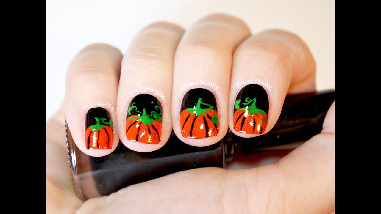 Halloween Pumpkin Nail Art Tutorial | Short Nails - YouTube