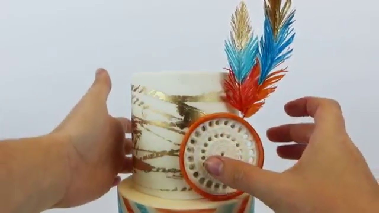 How to make fondant feathers youtube - How To Make Southwestern Bohemian Style Cake Feathers