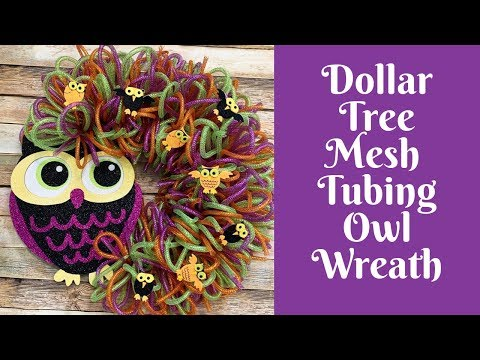 Dollar Tree Halloween Crafts: Dollar Tree Mesh Tubing Halloween Owl Wreath