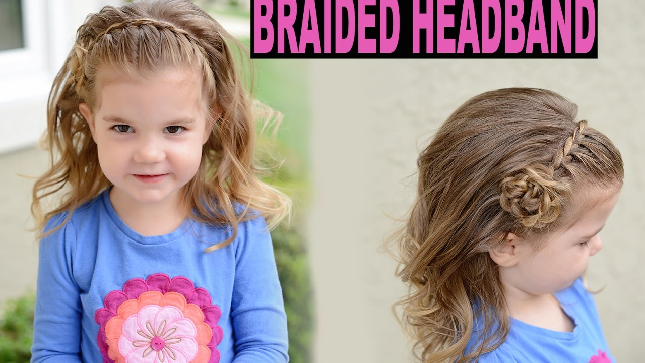 braided headband flower tutorial - lace braid toddler hairstyle