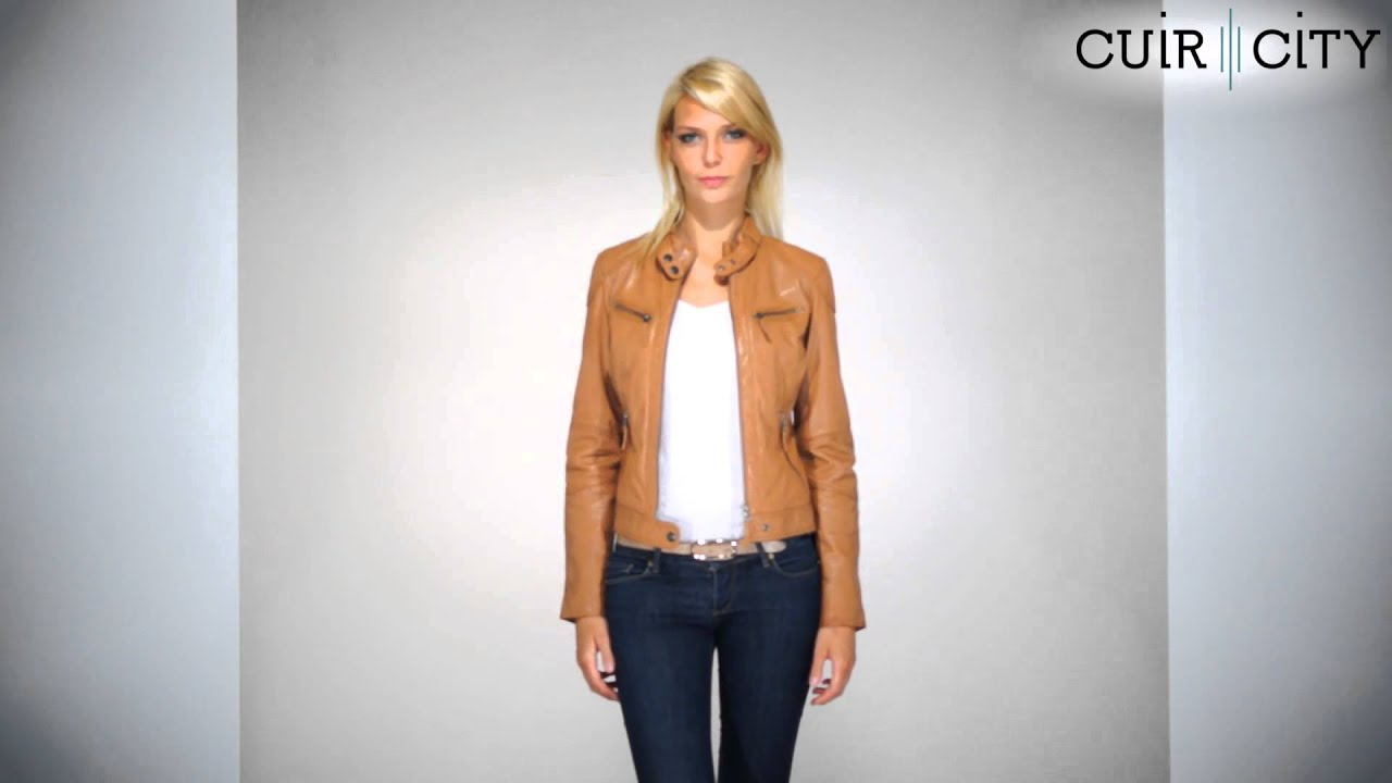 Super Blouson Cuir Femme Oakwood Marron Clair : Hello New 2 Cognac - YouTube LI24