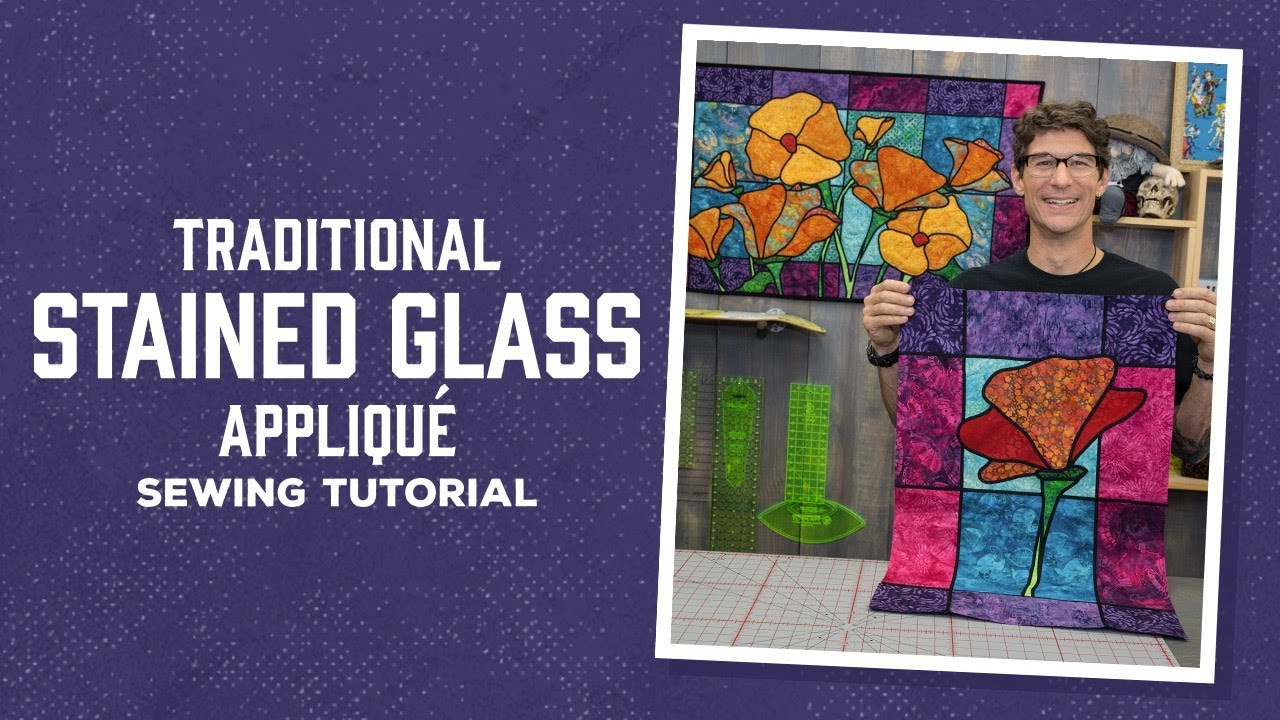 traditional stained glass applique with rob