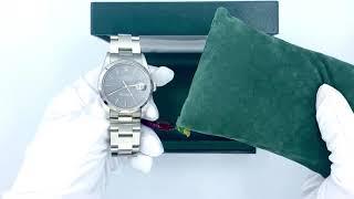 Vidéo: Montre Rolex Oyster  Perpetual Datejust (ref 16200) en acier avec cadran gris. Full set de 1993.