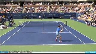 (HD) Rafael Nadal hits ridiculous shot against Ryan Harrison at US Open 2013 1st Rd 8/26/2013