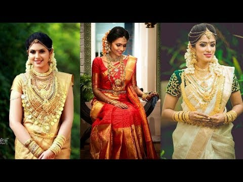 fb0a379758 Traditional south Indian bridal jewelry & saree collections//saree & jewelry  designs for wedding