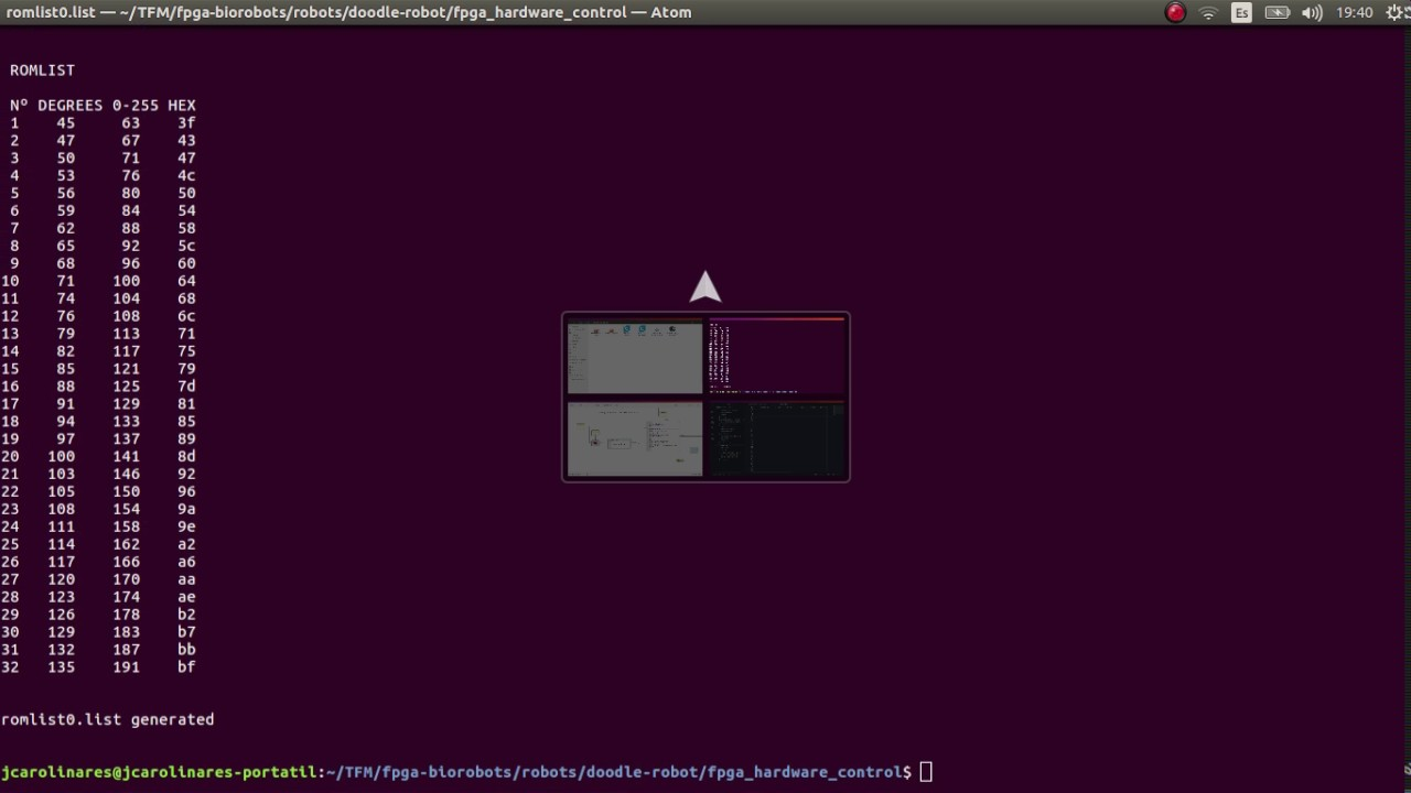 Oscillator Lookup tables for rom generator using python