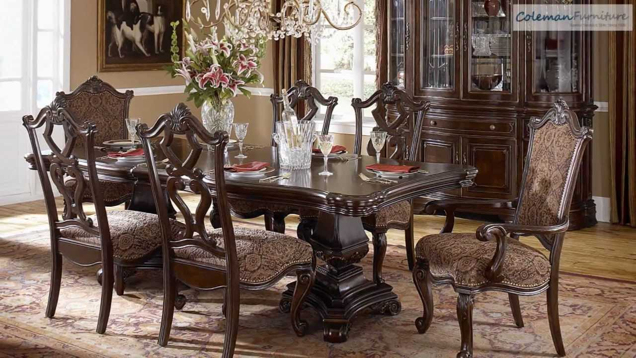 Grand european double pedestle dining room collection from for Dining room tables you tube