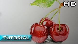 How to Draw Cherries with Colored Pencils Step by Step - Realistic Drawing - Tutorial