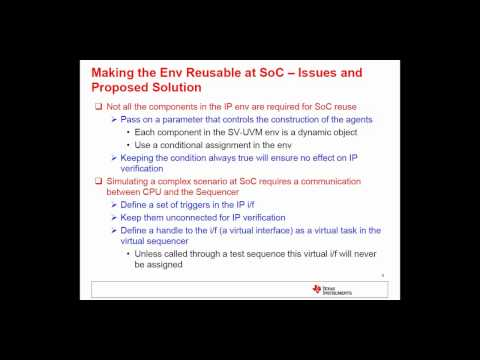 Re-Use Of SV-UVM Based IP Verification Environment at SoC Challenges Involved