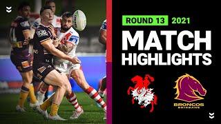Dragons v Broncos Match Highlights   Round 13, 2021   Telstra Premiership   NRL