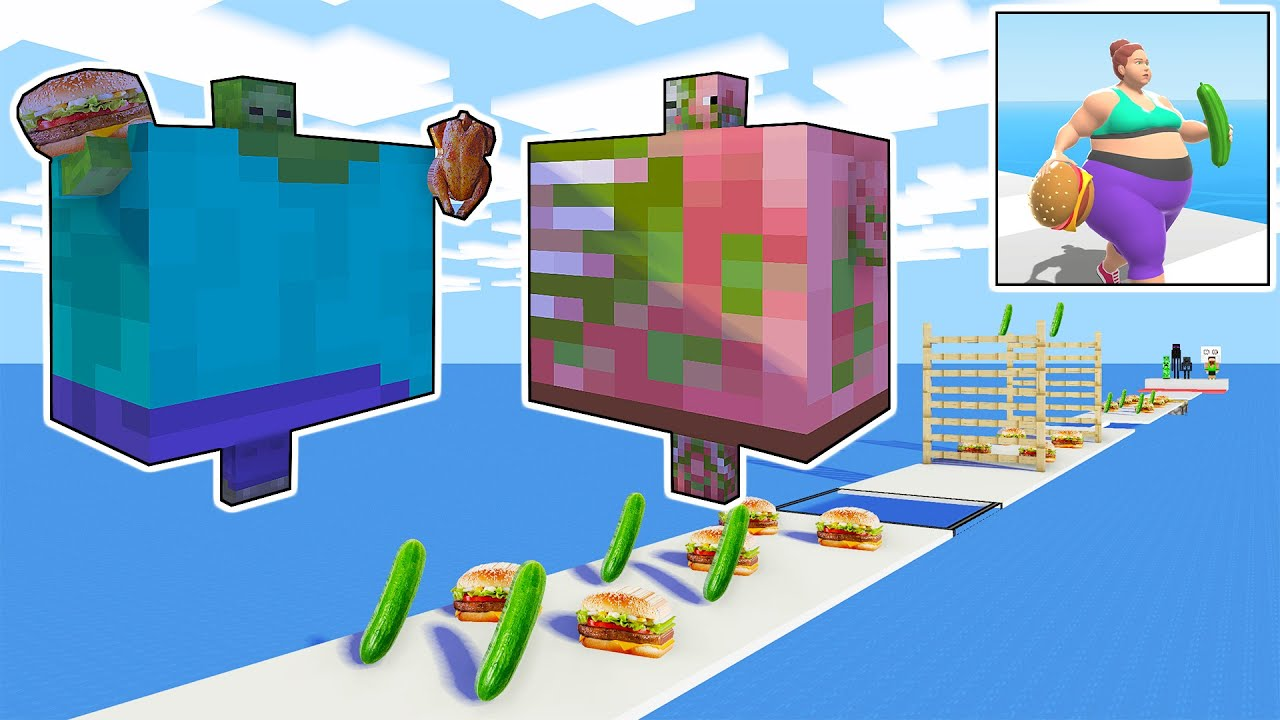 Monster School : Zombie vs Pigman Fat 2 fit Game Challenge - Very Funny Minecraft Animation