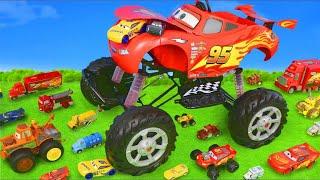 Tractor, Excavator, Fire Truck, Tractor, Excavator, Disney Cars - Lightning McQueen Toy Vehicles