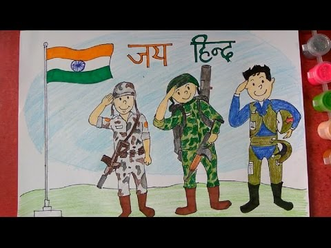 Army, Navy, Air Force saluting Indian National Flag draw step by step very easily