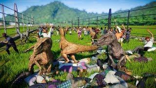 100 VELOCIRAPTOR Breakout and Kills 2000 PEOPLE - Jurassic World Evolution