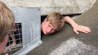 GUY GETS STUCK UNDER BRIDGE!!!??!