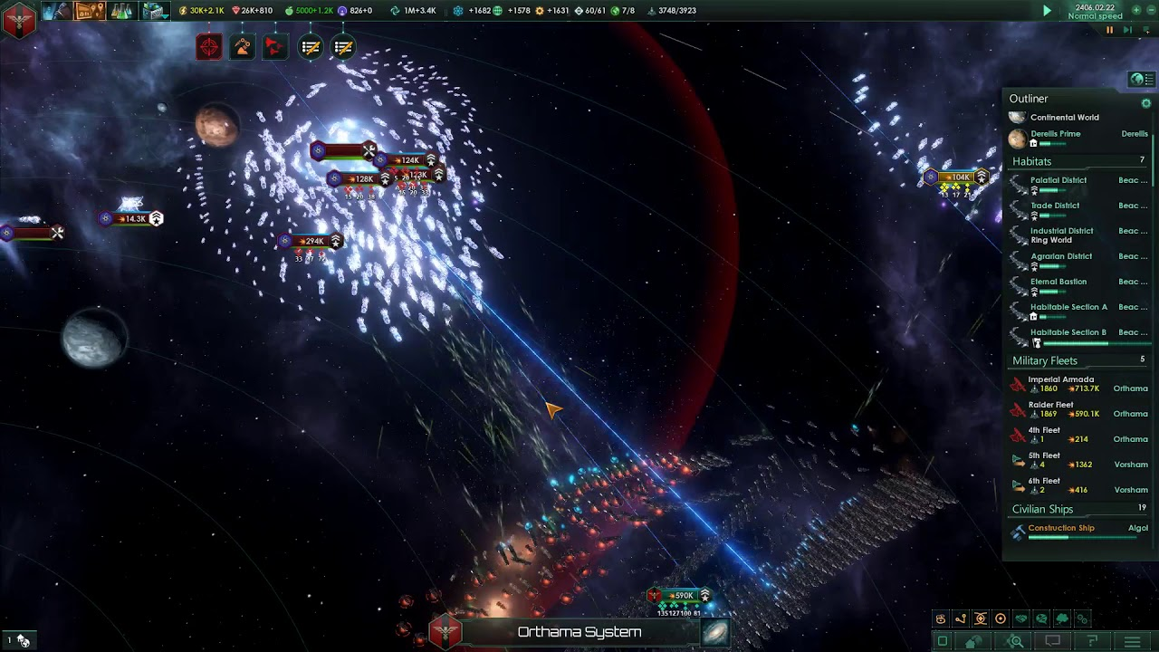 Stellaris Huge Fleet (1 2 Million) vs Unbidden [No Cheats]
