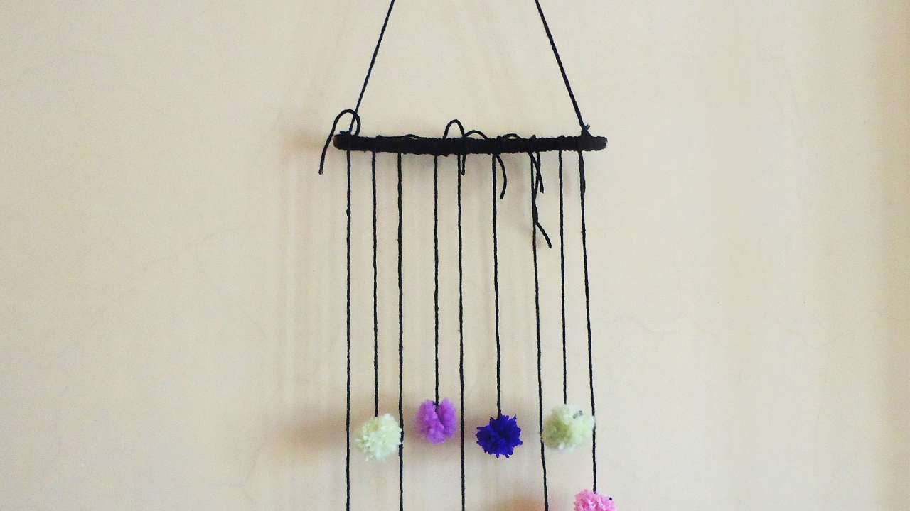 Twig Wall Decor how to make pompom and twig wall decoration - diy crafts tutorial