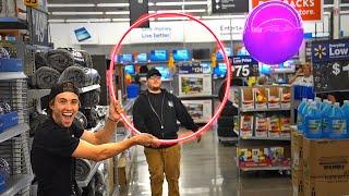 Kickball with Walmart EMPLOYEES! *Kick it through the hoop*