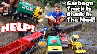 Garbage Truck Videos For Children l BRUDER GARBAGE TRUCK IS STUCK In The Mud! l Garbage Trucks Rule