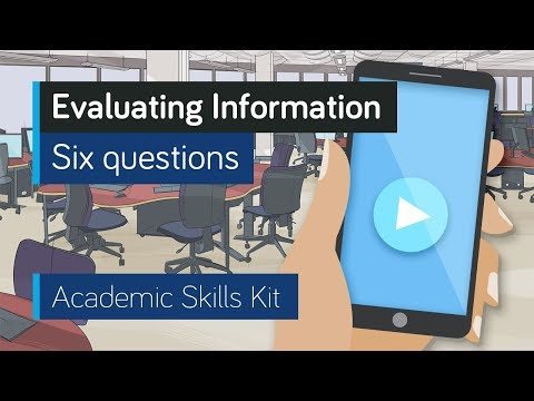 ASK Online Learning Resources 2.1: Evaluating Information - Six questions